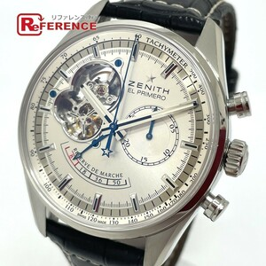 ZENITH ゼニス 03.2080.4021/01.C494 エルプリメロ パワーリザーブ クロノ 自動巻き メンズ腕時計 SS/革ベルト メンズ シルバー
