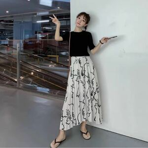 スカート新品ロングプリーツスカート白色ロングスカート