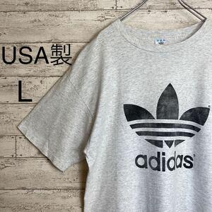 90's USA製 アディダス adidas トレフォイル ヴィンテージ 両面プリント 霜降りグレー Tシャツ ビッグシルエット Lサイズ