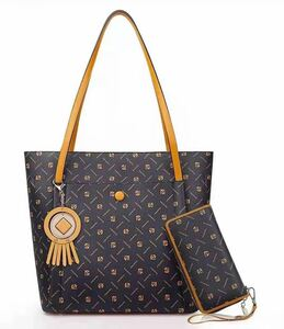 ビジネスバッグ トートバッグ 大容量 ハンドバッグ 2way PC収納 肩掛け バッグと長財布 2点セット 色:ブラウン