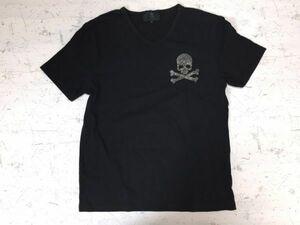 【送料無料】シーディーエス CDS スカル お兄系 ロック パンク ゴシック 半袖Tシャツ メンズ ラインストーン付き Vネック L 黒