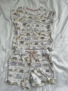 ジェラートピケ gelato pique ベビー セットアップ パジャマ ルームウェア 70-80 動物 半袖 半ズボン ベビー服 子供服 中古