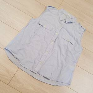 M697 GU ジーユー ノースリーブ トップス ブラウス 半袖 シャツ M 青系 綿100% コットン カットソー