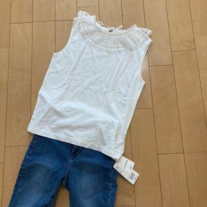 新品タグ付き Ray BEAMS ノースリーブトップス ホワイト 襟付き サイズフリー