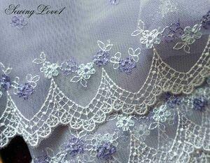 即決●1m単位●幅18cm●グレーパープルブルーオフホワイト縁チュールレース小花柄フラワースカラップ