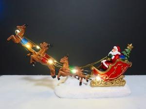 爆レア★ラスト1個 空飛ぶトナカイとサンタさん ライトアップ オブジェ クリスマス Holly night 聖なる夜の出来事