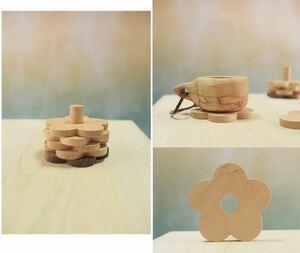 木製コースター 5枚 花 韓国 北欧 ホルダー付き 収納 ウッドコースター