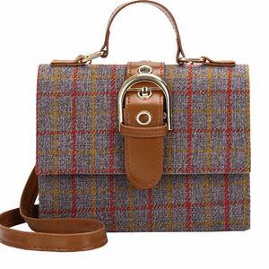 レディースショルダーバッグ ミニバッグ チェック柄 灰色 可愛い 韓国風 トートバッグ 斜め掛け バッグ 手提げバッグ