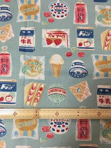 KOKKA 綿麻キャンバス レトロジャパン お菓子柄 サックス 約110cm×50cm カットクロス 昭和レトロ くすみカラー