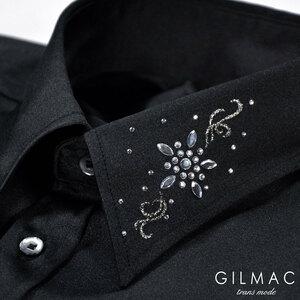6#36740-2 GILMAC 無地 レギュラーカラー 襟 花 ラインストーン 長袖サテンドレスシャツ メンズ(ブラック黒) L 結婚式 パーティー