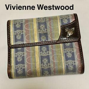ヴィヴィアンウエストウッド 三つ折り財布 オーブ 総柄 キャンバス