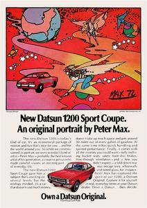 """ポスター★ピ-ター・マックス""""Foward Motion"""" 1973年 ダットサン Datsun 1200 スポーツクーペ 北米広告★ニッサン・サニー"""
