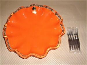 昭和レトロ 当時物 手作り クラタ クラフトグラス ガラス製 オレンジ 盛鉢 盛皿 フルーツ皿 姫フォーク5本 未使用