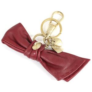 ディオール キーホルダー ボルドー ゴールドカラー レザー 中古 キーリング バッグチャーム Christian Dior