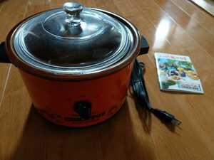 美品 クロックポット 電気で調理できる陶磁鍋 料理集付き