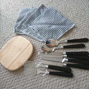 ピクニック アウトドア セット フォーク ナイフ スプーン カッティングボード