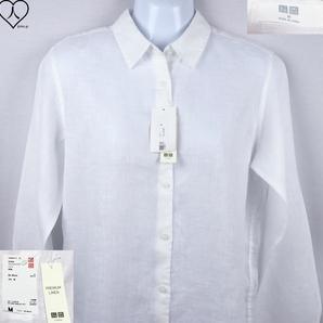 《郵送無料》■Ijinko◆新品☆UniqloユニクロPremium Linen M サイズ長袖シャツ