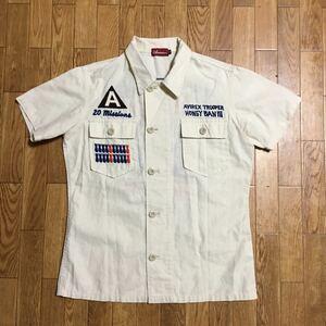 AVIREX 半袖シャツ 生成り Mサイズ アヴィレックス 麻混 刺繍 ミリタリー