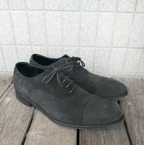 UNION IMPERIAL カーフスウェードレザー ストレートチップ ドレスシューズ ビジネス 牛革靴 ブラック 25.5cm U1860 ユニオンインペリアル