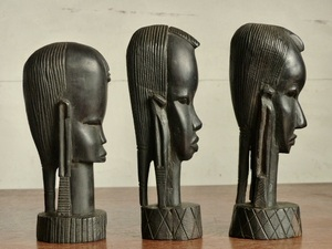 木彫 アフリカ女性像3pセット h20c~22cm 頭像 彫刻 人形 置物 エスニック 0704