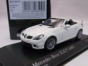 ★希少の白!★Mercedes-Benz メルセデスベンツ SLK55 AMG White 1/43【R171】★美品!★検:SLK 200 280 350 BRABUS SLR★