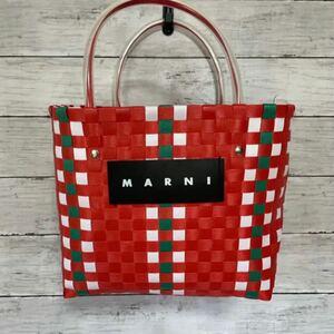 新品未使用 MARNI マルニ フラワーカフェ ピクニックバッグ ミニ 赤 レッド カゴバッグ ネームタグ付き ハンド トート