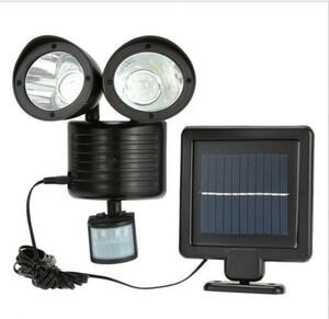 防犯対策に LED 22灯 搭載 人感センサーライト 450lm 太陽光 ソーラー パネル セキュリティ 照明 照射 防犯 kK