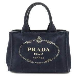 プラダ CANAPA カナパ トートバッグ ハンドバッグ キャンバス ネイビー 紺 ゴールド金具 1BG439 (中古)