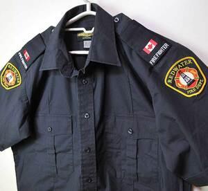 古着●カナダ消防部門 半袖シャツ レッドウォーター M相当 15-15.5 xwp