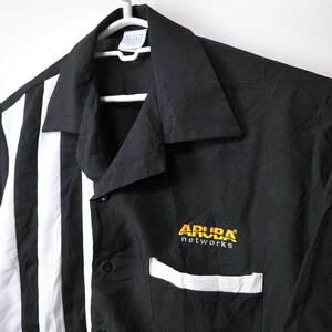 古着●トゥッティ ボウリングシャツ ブラック&ホワイトライン L xwp