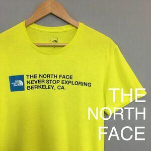 ザノースフェイス THE NORTH FACE 半袖 Tシャツ イエロー 黄色 ネオンイエロー プリント ロゴ メンズ XL アウトドア ハーフドーム ∬▽