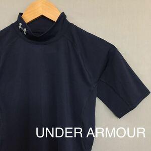 【美品】アンダーアーマー UNDER ARMOUR HG ヒートギア コンプレッション ウェアー 半袖 Tシャツ ネイビー MDサイズ メンズ ロゴ ∬▽