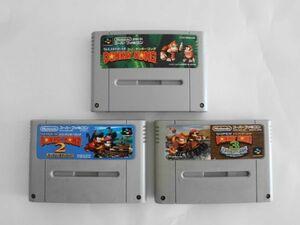 送料無料 即決 使用感あり 任天堂 スーパーファミコン SFC スーパードンキーコング 1 2 3 セット 名作 シリーズ レトロ ゲーム ソフト Y564