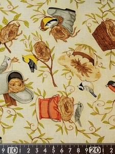 ★新品★USAコットン★カットクロス★野鳥と鳥の巣柄★