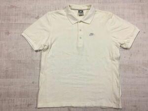 ナイキ NIKE 半袖ポロシャツ ロゴ刺繍 メンズ パイル地 サーフ シンプル 良生地 M 白