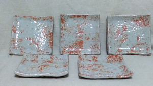 【小皿/角皿】『良品』 美濃焼 角皿 小皿 5枚セット / 清山 ・(管理)210423-7-02