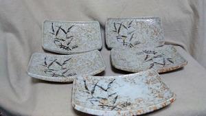 【角皿/有田焼】『良品』 有田焼 角皿 小皿 魚皿 5枚セット / 焼物 ・(管理)210630-7-09