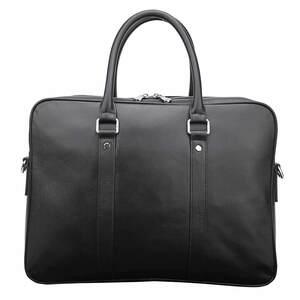 TIDING ラウンドZIP ナッパレザー 本革 ビジネスバッグ メンズ ブリーフケース 14インチ A4 書類鞄 仔牛革 黒 潮牛