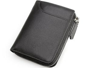 TIDING ナッパレザー メンズ 本革 コインケース 小銭入れあり 二つ折り財布 ウォレット コンパクト メンズ財布 シンプル ブラック 潮牛