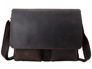 TIDING ビンテージ 厚手牛革 本革 メンズ ショルダーバッグ 13PC A4対応 斜め掛けバッグ 経年変化 通勤通学 書類鞄 潮牛