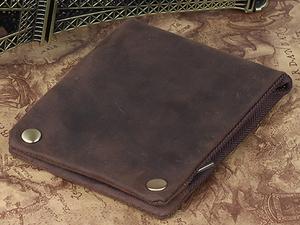 TIDING 手作り ビンテージ 本革 メンズ 二つ折り財布 小銭入れあり 経年変化 プルアップレザー 牛革 ウォレット 革財布 ブラウン 潮牛