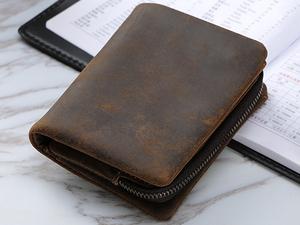 TIDING 本革 メンズ 二つ折り財布 柔軟牛革 小銭入れあり カード入れ ウォレット 短財布 アンティーク コンパクト ダークブラウン 潮牛