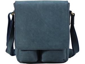 TIDING ヌバックレザー 本革 ショルダーバッグ メンズ 牛革 斜めがけバッグ iPad対応 自転車 鞄 ブルー 潮牛