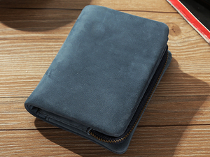 TIDING コンパクト メンズ 本革 二つ折り財布 柔軟牛革 離脱可能小銭入れあり 短財布 カード入れ 経年変化 ネイビー 潮牛