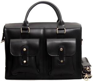 TIDING 艶々光沢 本革 メンズ ビジネスバッグ ブリーフケース 14PC対応 2WAY 通勤 鞄 A4 書類カバン ブラック 潮牛