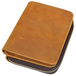 大容量小銭入れ 二つ折り財布 メンズ 本革 牛革 ラウンドファスナー コインケース ウォレット キャメル TIDING 潮牛