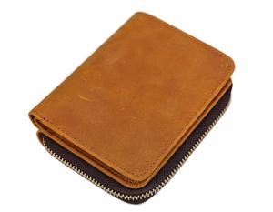 TIDING ラウンドzip メンズ 二つ折り財布 小銭入れあり 本革 オイルプルアップレザー 経年変化 アンティーク キャメル 潮牛