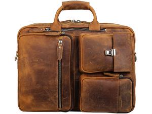 TIDING 3way ブリーフケース メンズ ビジネスリュック 本革 厚手牛革 キャリーサポーター 15PC A4書類鞄 キャメル 潮牛