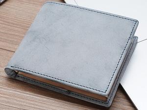 TIDING ギャルソン メンズ 二つ折り財布 本革 ブライドルレザー BOX型小銭入れあり スキミング防止 チャコール 潮牛