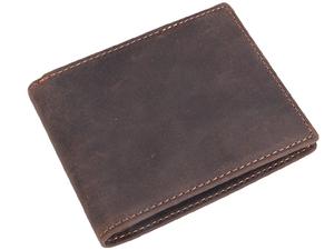 TIDING スキミング防止 二つ折り財布 ウォレット 短財布 メンズ 本革 厚手牛革 経年変化 ダークブラウン 潮牛